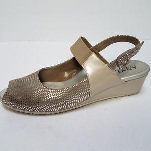 Anyi Lu Wedge Silver Sandals 38 / 8